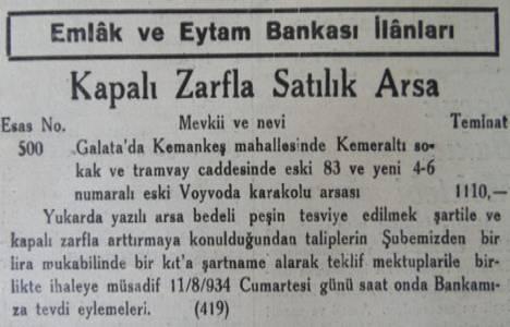 1934 yılında Galata'da Voyvoda Karakolu arsası bin 110 lira teminatla satışa çıkarılmış!