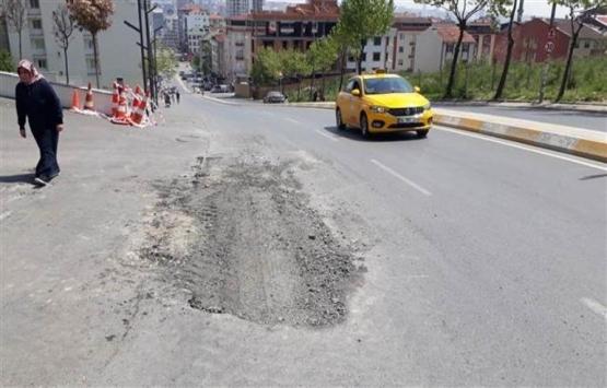 Esenyurt'ta yolda meydana gelen çökme onarıldı!