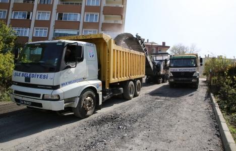 Şile'de asfalt çalışmaları