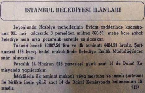 1948 yılında Eytam Caddesi'nde 360 metrekare arsa 63.087 liraya satılacakmış!