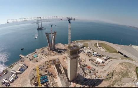 Körfez köprüsünün kuleleri hızla yükseliyor!