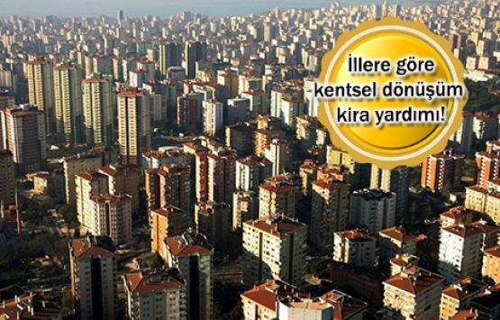 Hangi ilde ne kadar kentsel dönüşüm kira yardımı alınır?