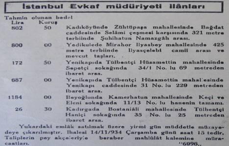 1934 yılında Bağdat Caddesi'nde 321 metrekare arsa 802 liraya satılacakmış!