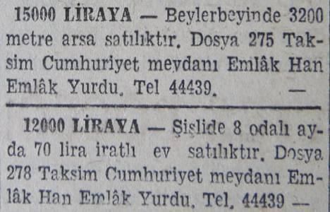 1942 yılında Beylerbeyi'nde 3.200 metrekare arsa 15 bin liraya satılacakmış!