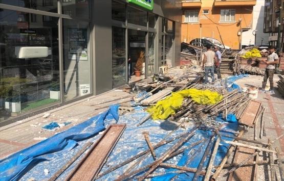 Rize'de inşaat iskelesi