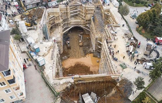 Ümraniye'deki metro inşaatındaki