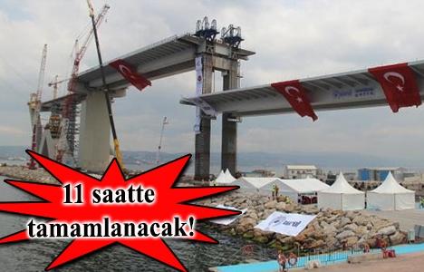 İzmit Körfez Köprüsü'nün en ağır parçası yerleştiriliyor!
