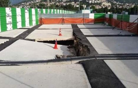Timsah Arena'nın zemini çöktü!