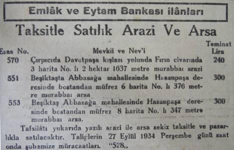 1934 yılında Çırpıçı'da bin 637 metrekare arsa 240 lira teminatla satılacakmış!