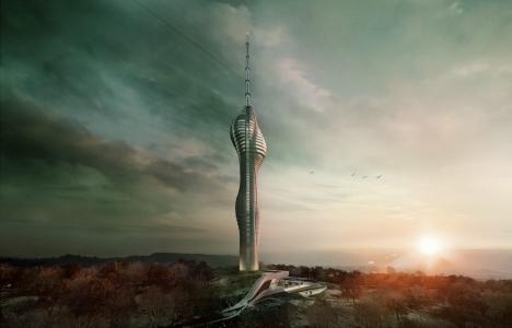 Çamlıca Kulesi'nin inşaatı