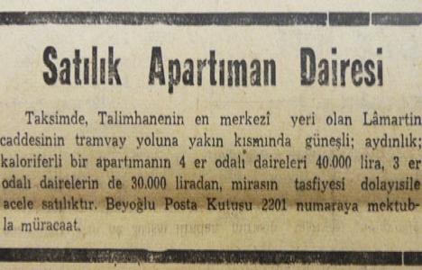 1953 yılında Lamartin Caddesi'nde 30.000 liraya daire satılacakmış!