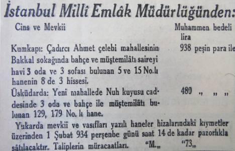 1934 yılında Üsküdar Nuh Kuyusu'nda bir ev 480 liraymış!