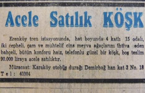 Erenköy'de 15 odalı bir köşk 90 bin liraya satılacakmış!