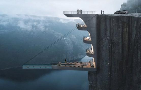 Norveç'te yer çekimine meydan okuyan otel!