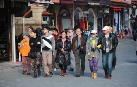 Çinli turistler, Antalya Side Antik Kent'in tanıtımı için fotoğraf çekimi yaptı!