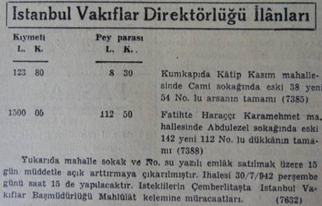 1942 yılında Kumkapı'da bir arsa 123 liraya satılacakmış!