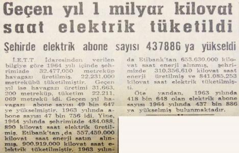 1964 yılında İstanbul'da 1 milyar kilovat saat elektrik tüketilmiş!
