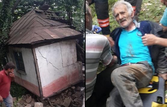 Trabzon'da ev çöktü! Ölümden şans eseri kurtuldu!