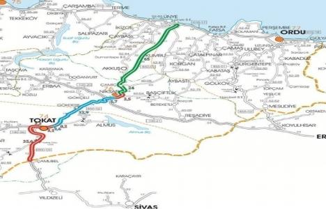Ünye-Niksar yolu projesi