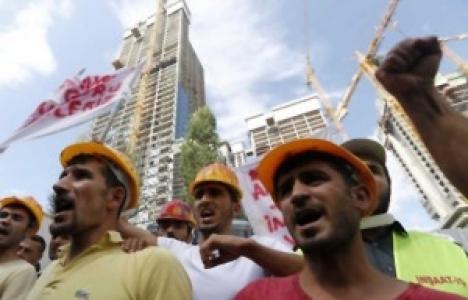 İnşaat işçileri eyleme