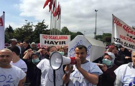 Sultangazi'deki 5 ruhsatsız taş ocağı protesto edildi!