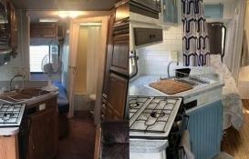 Kendi imkanlarıyla eski karavanı eve dönüştürdü!