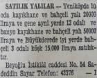 1941 yılında Yeniköy'de 10 odalı bir yalı 20 bin liraya satılacakmış!