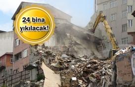 Kağıthane'de hasarlı binaların yıkımına başlandı!