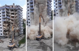 Rize'de yıkımı yapılan bina aniden çöktü!