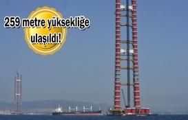 1915 Çanakkale Köprüsü'nde kırmızı beyaz kulelerin yüzde 78'i tamam!