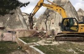 Kapadokya'da 15 yapıdan ilkinin yıkımına başlandı!