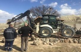 Kapadokya'daki tek katlı taş yapı yıkıldı!