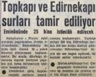 1957 yılında Topkapı ve Edirnekapı surları tamir edilecekmiş!