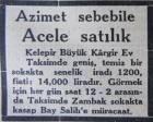 1943 yılında Taksim'de kagir bir ev 14 bin liraya satılacakmış!