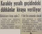 1965 yılında Karaköy Yeraltı Geçidi'nde bulunan dükkanlar kiraya verilecekmiş!
