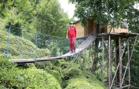 Artvin'deki bu eve asma köprü ile ulaşılıyor!